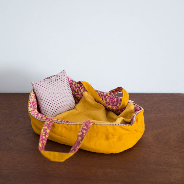 Moses Doll Bed with Bedding - Medium Mustard Yellow