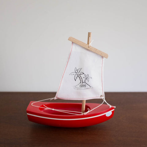 French Wooden Sail Boat - Red/White