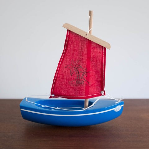 French Wooden Sail Boat - Red/Blue