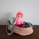 Moses Doll Bed with Bedding - Large Mauve Pink
