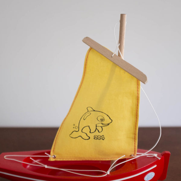 French Wooden Sail Boat - Red/ Yellow