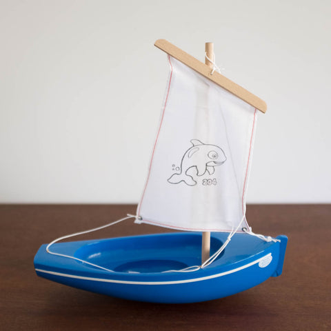 French Wooden Sail Boat - Blue/White