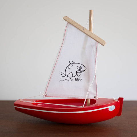 French Wooden Sail Boat -Red/White