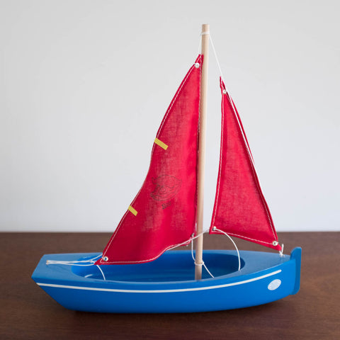 French Wooden Sail Boat -Red/Blue