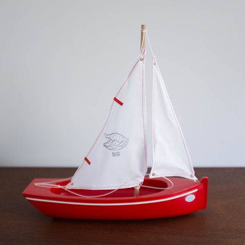 French Wooden Sail Boat -White/Red