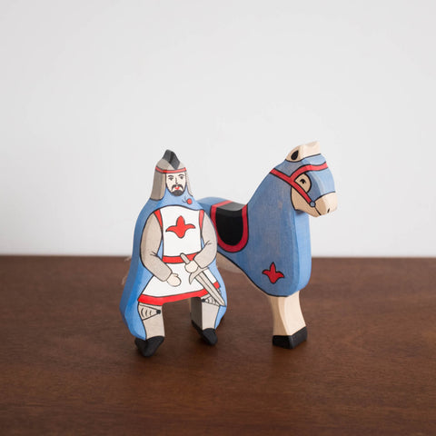Holztiger Blue Knight and Horse Set
