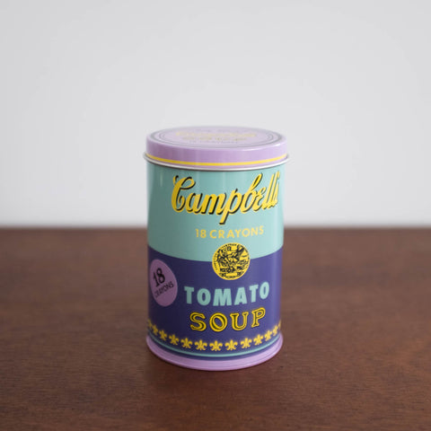 Andy Warhol Soup Can Crayon Tin Set -Blue/Lilac