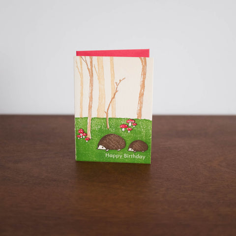 Hedgehogs Forest Happy Birthday Card