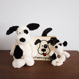 Bashful Black and Cream Puppy Rattle