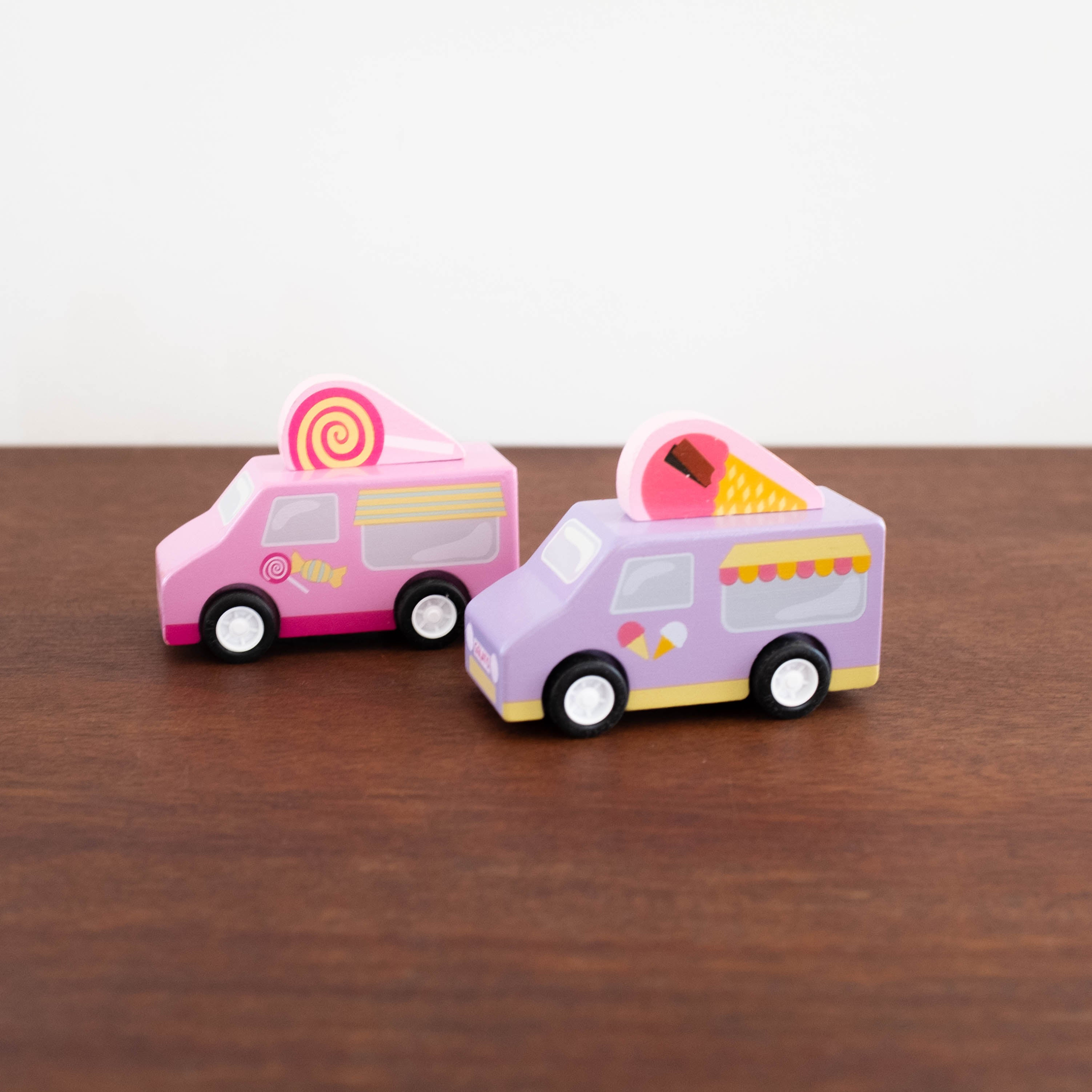Wooden Sweets and Treats Truck Pull Back Cars