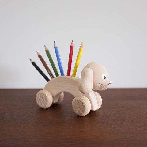Wooden Dog Colored Pencil Holder Toy