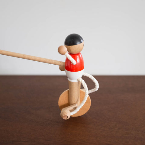 Wooden Unicyclist Push Toy