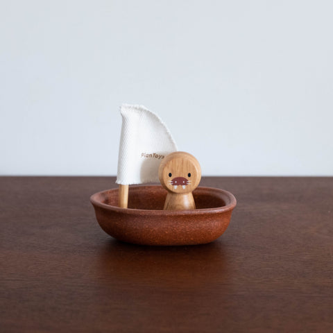 Sailing Boat with Walrus Toy