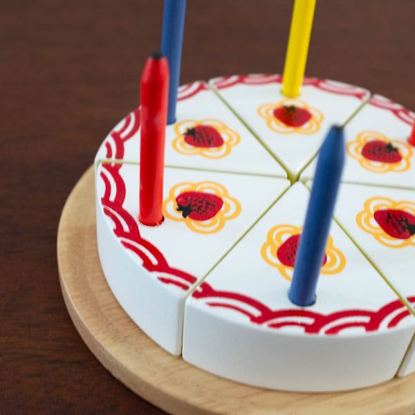 Wooden Birthday Cake with Candles and Wooden Knife
