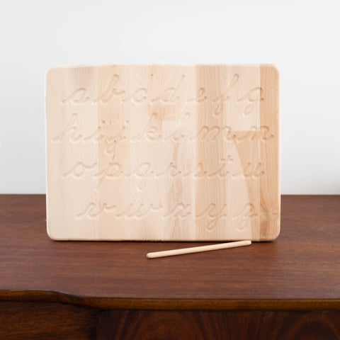 Wooden Alphabet Tracing Board with Pen- Cursive