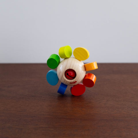 Rainbow Flower Wooden Clutching Rattle Toy