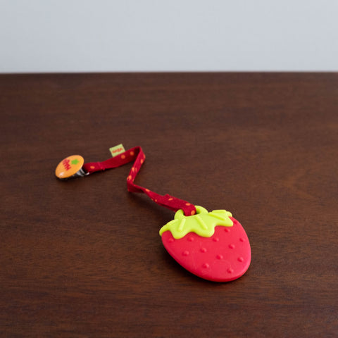 Clutching Strawberry Teether Clip Toy