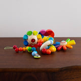 Rainbow Wooden Ball Pacifier Clip