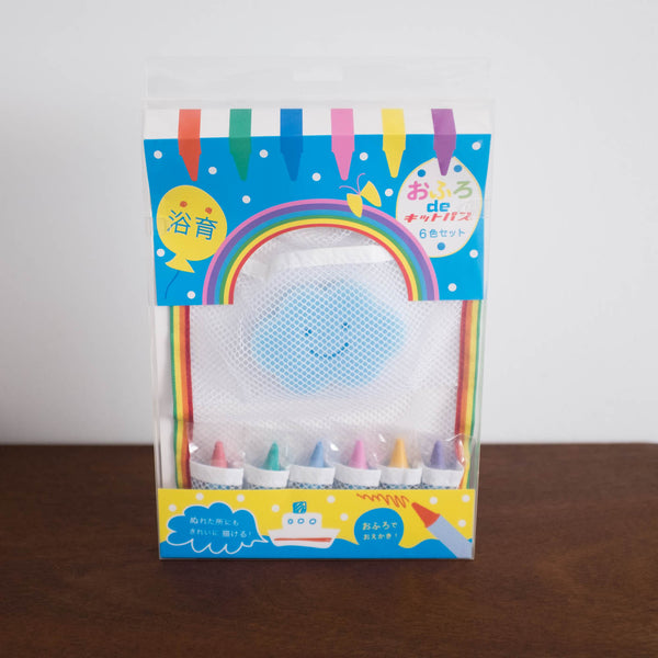 Japanese Bath Crayons with Net Bag and Sponge Set