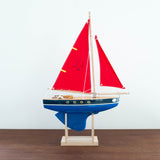 French Wooden Sail Boat - Large Blue Bottom Two Colors Available!