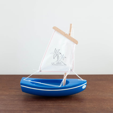 French Wooden Sail Boat -White/Blue