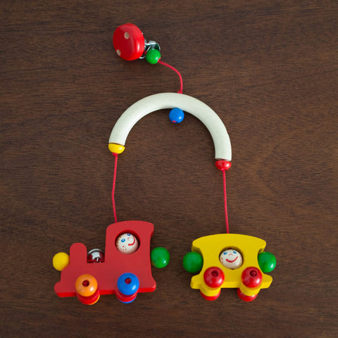 Wooden Stroller Trapeze Teether Clip- Train