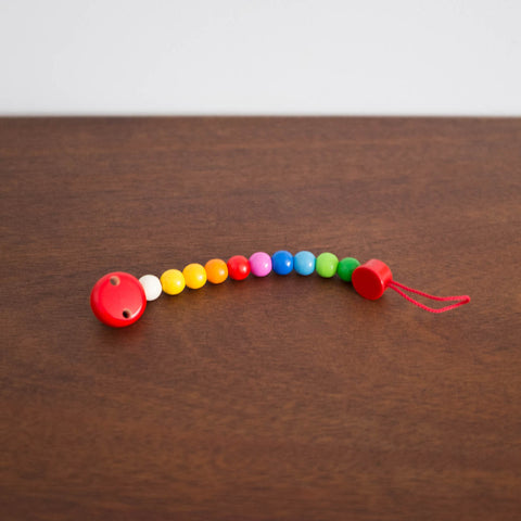Wooden Beaded Soother Teether Clip- Rainbow