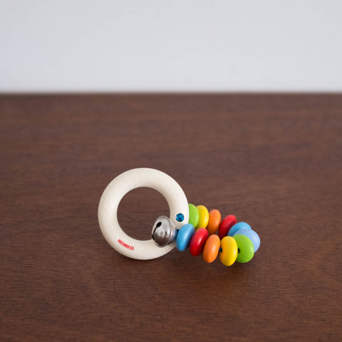 Wooden Touch Ring Teether and Rattle- Rainbow