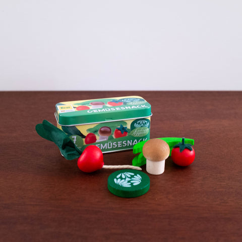 Wooden Vegetables in a Tin Set