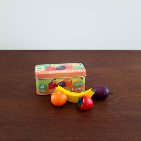 Wooden Fruits in a Tin Set