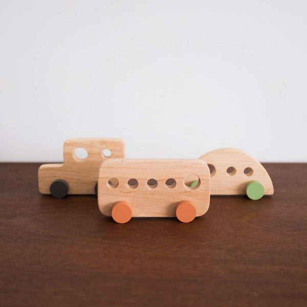 Retro Mini Wooden Cars Set of Three