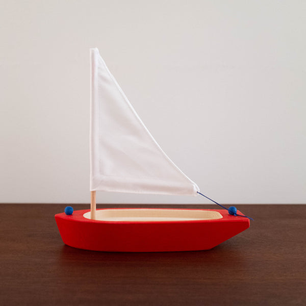Red and White With Blue Knots Sailboat
