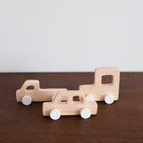Retro Mini Wooden Cars Set of Three-White