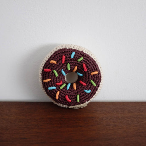 Donut Organic Crochet Rattle Toy - Chocolate with Sprinkles