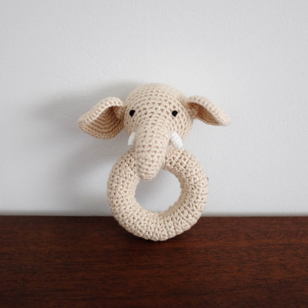 Elephant Organic Crochet Rattle Toy