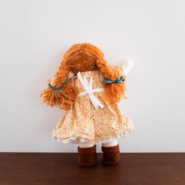 Waldorf Doll: Floral Orange Dress with Red Hair