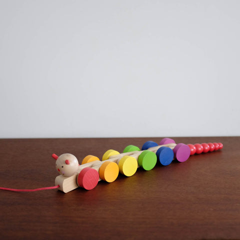 Rainbow Wooden Caterpillar Pull Toy