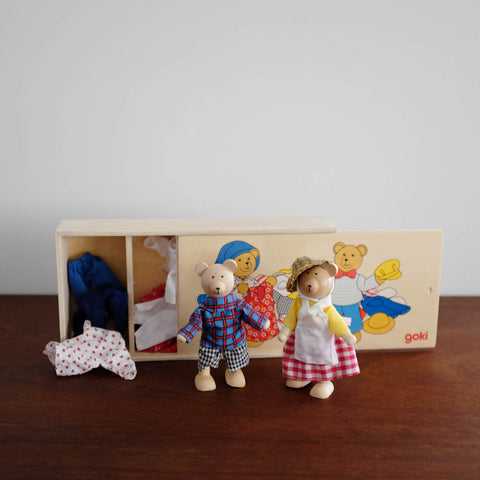 Wooden Dress Up Bear Doll Set