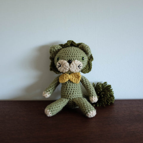 Crochet Knit Lion Doll- Green