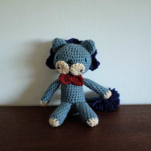Crochet Knit Lion Doll - Blue