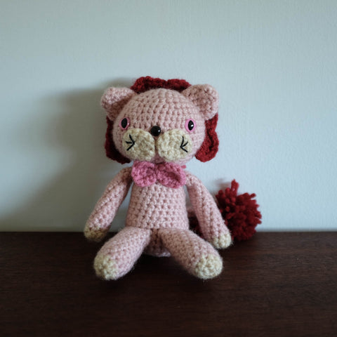 Crochet Knit Lion Doll - Pink