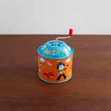 Retro Tin Musical Box-Orange and Blue