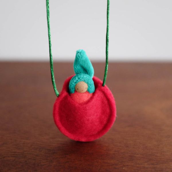 Waldorf Inspired Mini Doll in Apple Necklace