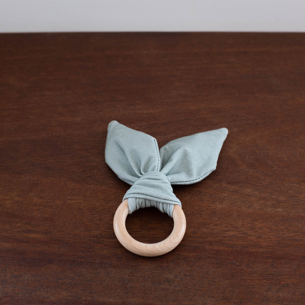 Crinkle Bunny Ear Teether Ring- Gray