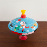 Large Retro Blue Spinning Tin Top Toy