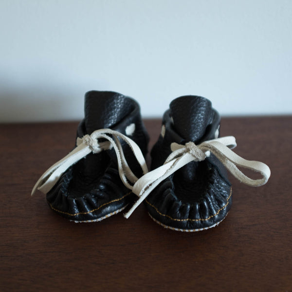 Manimal Moccasins- Black leather with White laces
