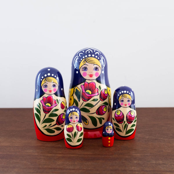 Classic Wooden Russian Nesting Dolls- Maiden Set