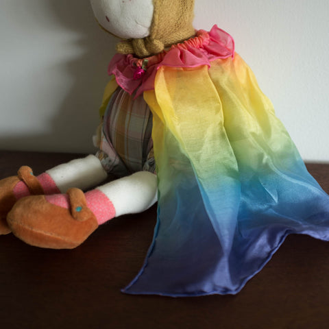 Rainbow Silk Doll Cape