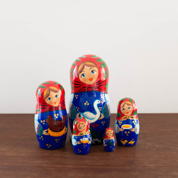 Classic Wooden Russian Nesting Dolls- Goose Set