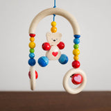 Wooden Stroller Trapeze Teether Clip- Teddy Bear